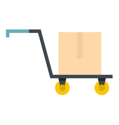 Hand truck with cardboard box icon isolated vector