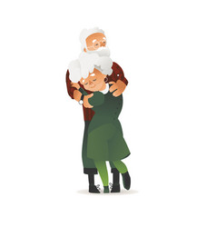 happy elderly couple hugging with smile vector image