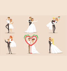 happy elegant just married couples set newlywed vector image