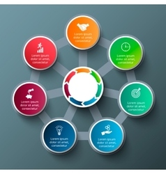 Heptagon with circles for infographic vector