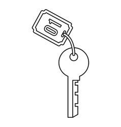 Hotel room key icon outline style vector