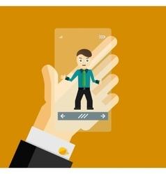 Human hand holding transparent screen smartphone vector
