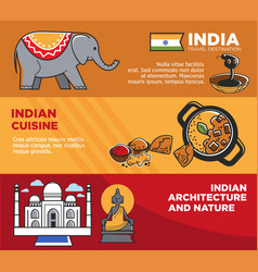 India tourism travel famous landmark symbols vector