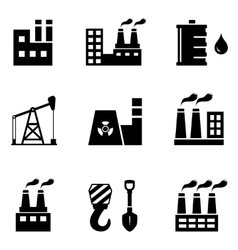 industrial icons set vector image