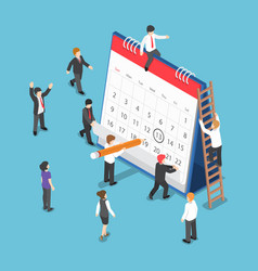 Isometric business people scheduling operation on vector