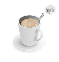 isometric flat white coffee cup spoon vector image