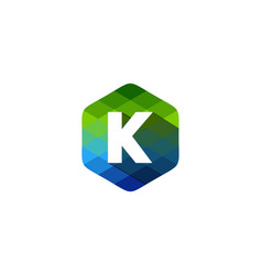 k hexagon pixel letter shadow logo icon design vector image