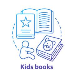 kids books blue concept icon children literature vector image