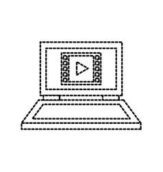 laptop video player movie connection internet web vector image