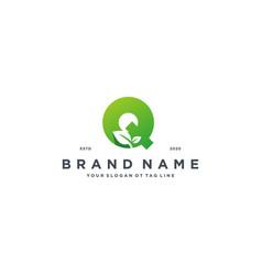 Leaf letter q logo design vector
