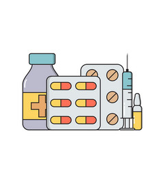 medicines in various forms ampoules pills vector image