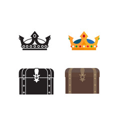 medieval icons chest and crown vector image