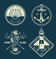 Monochrome nautical logos collection vector
