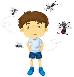 Mosquitos biting little boy vector