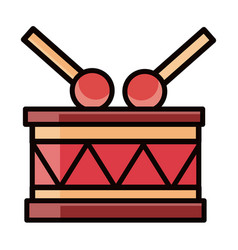 Musical drum and drumsticks instrument percussion vector