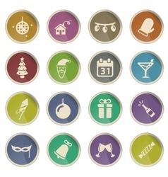 New year simply icons vector image