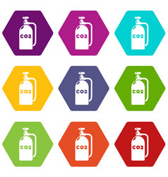 Paintball carbon dioxide icons set 9 vector
