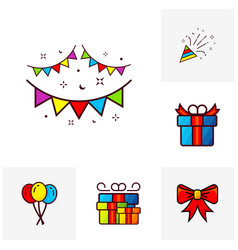 party icon template celebration thin line icons vector image