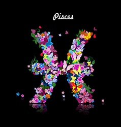 Pattern with butterflies cute zodiac sign pisces vector image