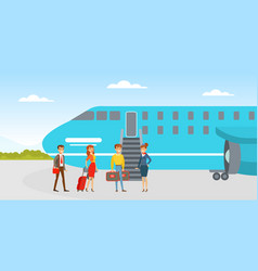 People boarding on airplane passenger and vector