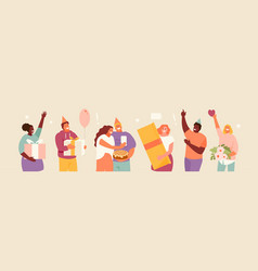 people celebrating a birthday vector image