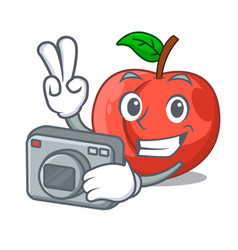 Photographer cartoon fresh sweet nectarines in the vector