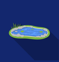 pond icon in flat style isolated on white vector image
