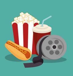 Pop corn cinema enterainment vector