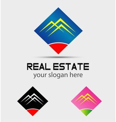 Real estate houses logo icons isolated vector
