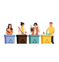Recycling characters cartoon men and women vector