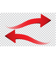 Red arrow 3d wave direction on transparent vector