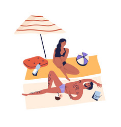 Relaxing people romantic couple sunbathing on vector