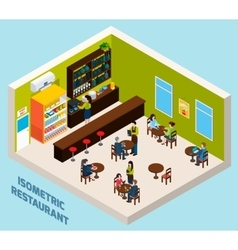 Restaurant Bar Interior Isometric Composition vector