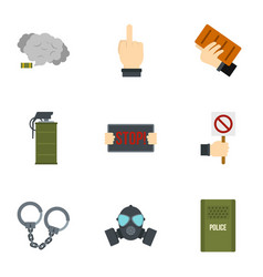 revolution icon set flat style vector image