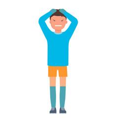 Sad goalkeeper icon flat style vector