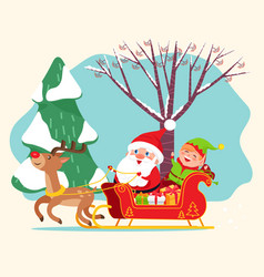 Santa claus riding sleigh with elf christmas time vector