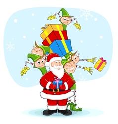 Santa with Elf distrubiting Christmas Gift vector image