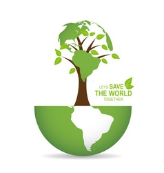 Save the world poster design template with globe vector image