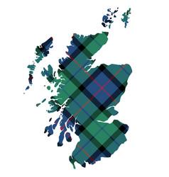 Scotland map texture of tartan plaid flat design vector