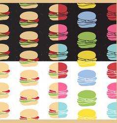 Seamless pattern set fast food vector
