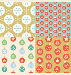 seamless pattern wallpaper of christmas ball vector image