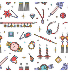 seamless pattern with fashionable jewelry items on vector image