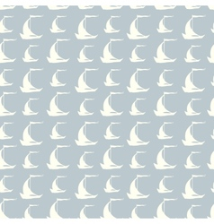 Seamless pattern with sailing ships on waves vector