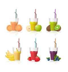 set glasses fresh juice with straw and sliced vector image