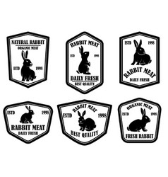 set rabbit meat emblems design element vector image