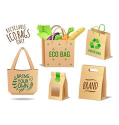 set textile linen and paper eco bags set no vector image