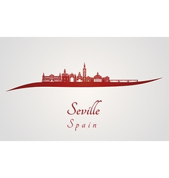 Seville skyline in red vector image