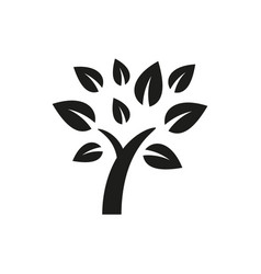 simple minimal black tree icon symbol style design vector image
