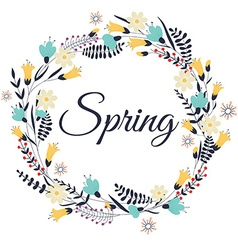 Spring flowers leaves dandelion grass Design for vector image