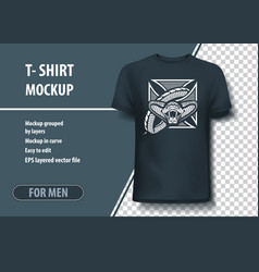 T-shirt mock-up template with cross and snake vector